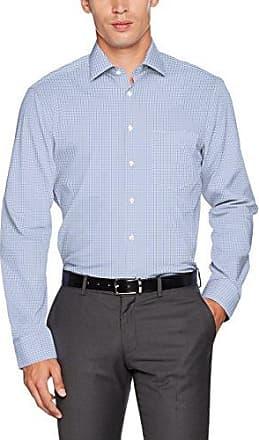Tailored, Camisa de Oficina para Hombre, Azul (Blau 18), 42 cm Seidensticker