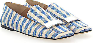 Slip On Shoes A77990 textile Metal buckle beige blue Sergio Rossi