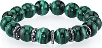 Sheryl Lowe 12mm Malachite Bead Bracelet with 5 Diamond Rondelles