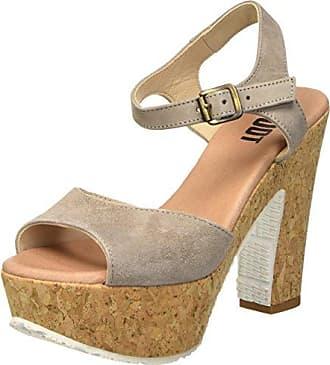 ShootShoot Shoes SH-160181B Damen Sommer Keil Leder Sandale Plateau Schuhe - Sandalias de Punta Descubierta Mujer, Color Beige, Talla 39 UE