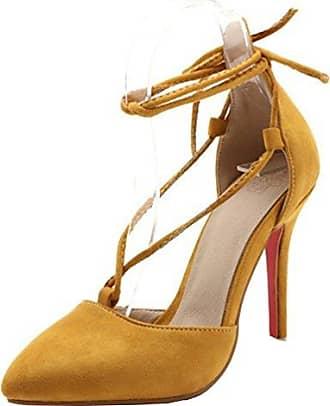 SHOWHOW Damen Elegant Schnürer High Heels Pumps Mit Knöchelriemchen Sandale Gelb 39 EU