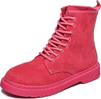 SHOWHOW Damen Flach Kurzschaft Stiefel Schnürsenkel Worker Boots Pink 40 EU