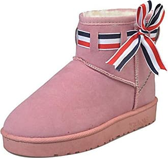 SHOWHOW Damen Flach Warm Süß Schleife Ugg Boots Kurzschaft Stiefel Pink 38 EU