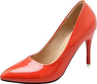 SHOWHOW Damen Elegant High Heels Spitz Zehen Kunstleder Cut Out Pumps Rot 40 EU