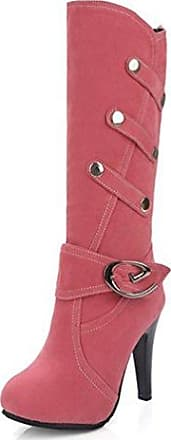 SHOWHOW Damen Nubuk Klassisch Stiefelette Langschäfter Schaftstiefel Mit Stiletto Pink 34 EU