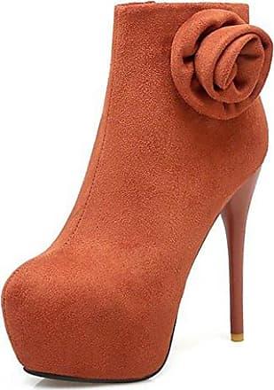 SHOWHOW Damen Warm Rund Zehen Übergroß Keilabsatz Quaste Kurzschaft Stiefel Orange 36 EU