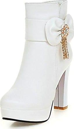 SHOWHOW Damen Süß Schleife Kurzschaft Stiefel Mit Absatz Stiefelette Pink 33 EU