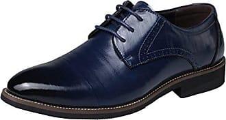 SHOWHOW Herren Offiziell Derby Schnürhalbschuhe Anzugschuhe Blau 42 EU