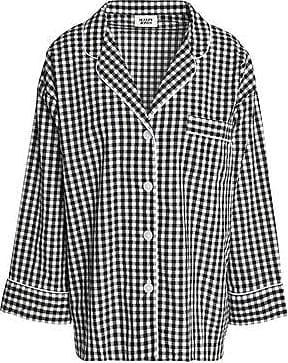 Sleepy Jones Woman Gingham Seersucker Cotton Pajama Top Black Size XS Sleepy Jones