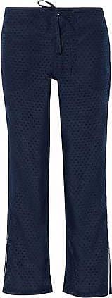 Sleepy Jones Woman Cropped Pinstriped Wool Straight-leg Pajama Pants Navy Size S Sleepy Jones