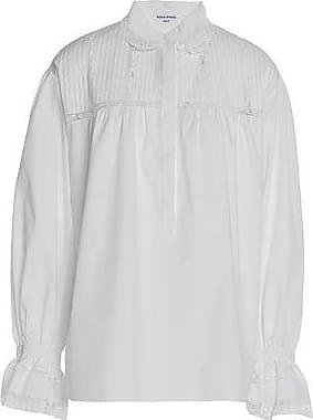 Sonia Rykiel Woman Ruffle-trimmed Striped Crepe Shirt Petrol Size 44 Sonia Rykiel