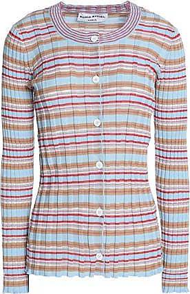 Sonia Rykiel Woman Striped Ribbed Cotton-blend Sweater Sky Blue Size L Sonia Rykiel
