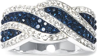 Sparkle Allure Silver-Plated Multi Blue Crystal Wave Ring