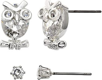Sparkle Allure Sparkle Allure Crystal Silver-Plated Owl and Stud Earring Set