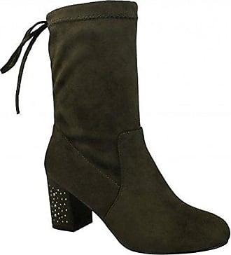 Spot on Damen Stiefel mit Absatz und Reißverschluss (38 EU) (Schwarz)