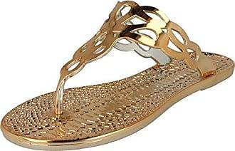 Spot On Damen Zehensteg-Sandalen mit Krokomuster (40 EU) (Kupfer)