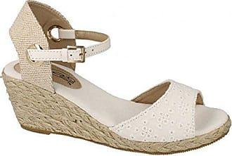 Spot on Damen Sandalen mit Keilabsatz und Knöchelriemen (38 EU) (Weiß)