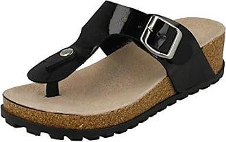 Spot On Damen Zehensteg-Sandale mit Keilabsatz und Schnalle (36 EU) (Schwarz)