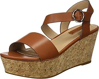 Womens Wildleder Keilsandale Mit Plateau 20-49344 Platform Sandals Bianco