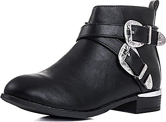 Cowboy Western Flat Ankle Boots Shoes Black Leather Style SZ 8