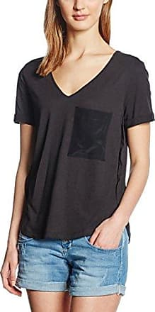 Stefanel T-Shirt Jersey C/Dett.In CDC, Camiseta Mujer, Negro, Medium