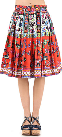 Stella Jean Woman Pleated Printed Stretch-cotton Midi Skirt Red Size 40 Stella Jean