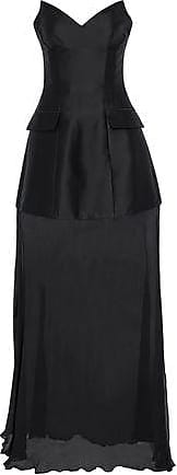 Stella Mccartney Woman Strapless Duchesse-satin And Crinkled Georgette Gown Black Size 36 Stella McCartney