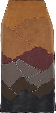 Stella Mccartney Woman Embroidered Faux Leather And Suede Skirt Brown Size 38 Stella McCartney