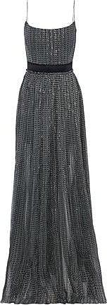 Stella Mccartney Woman Lace-paneled Printed Silk-blend Georgette Gown Green Size 36 Stella McCartney