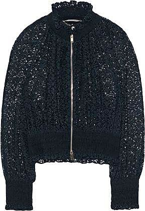 Stella Mccartney Woman Shirred Cotton-blend Lace Jacket Navy Size 40 Stella McCartney