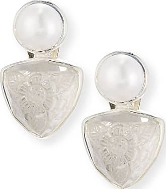 Stephen Dweck Pearl Button & Carved Drop Earrings, White