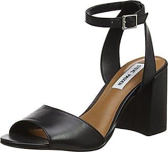 Steve Madden 91000339-0S0 - Sandalias con Punta Abierta de Cuero Mujer, Color Negro, Talla 37