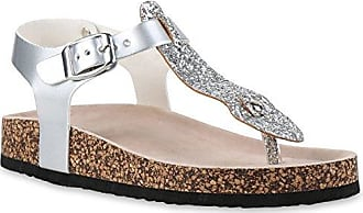 Bequeme Damen Sandalen Zehentrenner Glitzer Komfort-Sandalen Kork Bequem Strand Schnallen Schuhe 129011 Silber Schnallen 41 Flandell