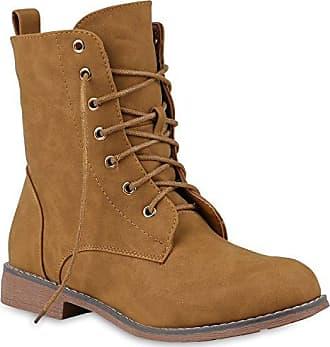 Bequeme Damen Schnürstiefeletten Gefütterte Stiefeletten Stiefel Schuhe 150116 Hellbraun Strass Strass 42 Flandell