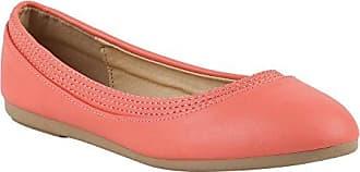 Klassische Damen Ballerinas Ballerina Flats Spitze Slipper Schleifen Freizeit Leder-Optik Übergrößen Schuhe 113895 Coral 38 Flandell