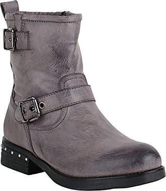 Stiefelparadies Damen Biker Boots Stiefeletten Ösen Stiefel Schuhe 147197 Blau Grau Schnalle 40 Flandell