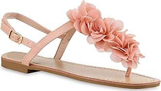 Stiefelparadies Damen Sandalen Zehentrenner Blumen Sommer Flats Damen ÜbergrößenGr. 36-42 Schuhe 135985 Nude Blumen 36 Flandell