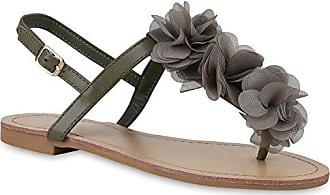 Damen Zehentrenner Blumen Sandalen Glitzer Sommer Schuhe 135990 Dunkelgrün 39 Flandell