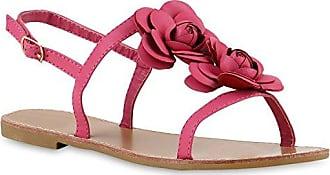Damen Sandalen Zehentrenner Blumen Sommer Flats Damen ÜbergrößenGr. 36-42 Schuhe 132287 Hellgrau 39 Flandell