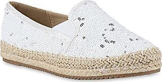 Stiefelparadies Damen Schuhe Bast Slipper Profilsohle Espadrilles Glitzer Zehenkappe 156239 Weiss 39 Flandell
