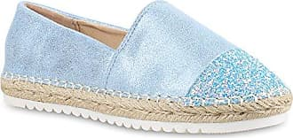 Glitzer Damen Schuhe Loafers Slippers Bequeme Flats Modisch Party 156928 Hellblau Prints 41 Flandell