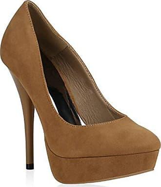 Damen Plateaupumps mit Stiletto Absatz Schuhe 128784 Gold Arriate Strass 40 Flandell