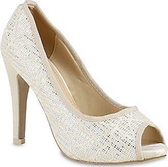 Frauen High Heels mit 11 cm Stiletto-Absatz in Beige und Größe 40 Klassische Abendschuhe mit Muster