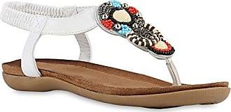 Damen Sandalen Zehentrenner Strass Blumen Flats Leder-Optik Schuhe 142790 Schwarz 37 Flandell