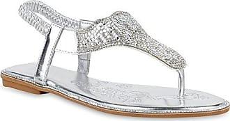 Damen Sandalen Zehentrenner Strass Metallic Flache Freizeit Schuhe 153653 Schwarz Strass 39 Flandell