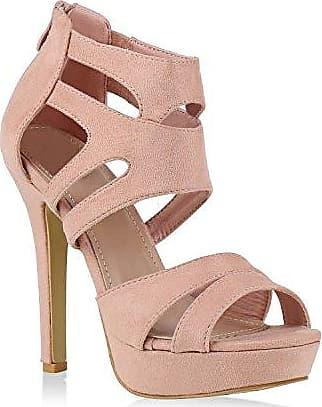 Damen Plateaupumps mit Stiletto Absatz Schuhe 128784 Gold Arriate Strass 41 Flandell
