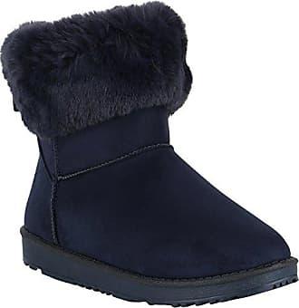 Damen Plateau Boots Stiefeletten Gefütterte Schuhe Fransen Fell 149152 Dunkelblau Fransen 38 Flandell