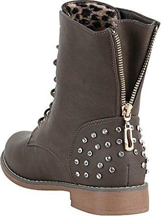 55ee1421923c0c Damen Schnürstiefeletten Profilsohle Leder-Optik Stiefeletten Schuhe 148741  Khaki Nieten Carlet 40 Flandell Stiefelparadies Qualität