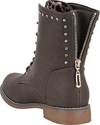 Damen Stiefeletten Schnürstiefeletten Stiefel Schuhe 147170 Khaki Pailetten 39 Flandell