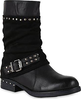 Damen Biker Boots Metallic Details Leder-Optik Stiefeletten Schuhe 148025 Braun Metallic 37 Flandell
